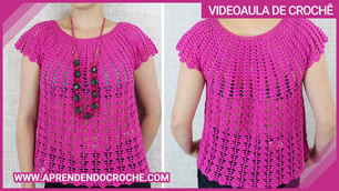 Blusa Bata Crochê Top Down