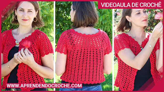 Bolero de Crochê Top Down Ousadia