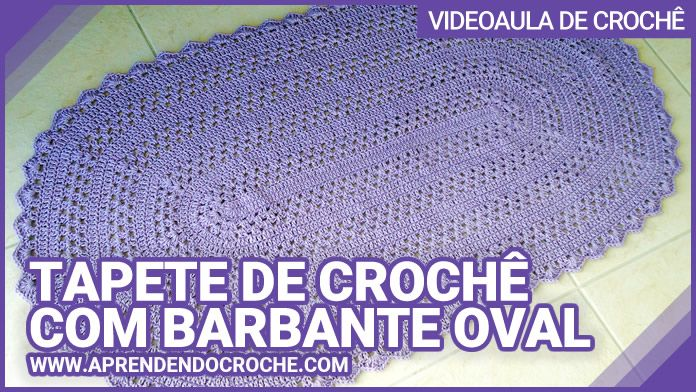 Tapete de Crochê Oval com Barbante