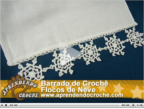 Barrado de Crochê Flocos de Neve. Nova vídeo aula exclusiva no site!