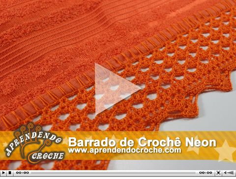 Barrado de Crochê Neon. Nova vídeo aula no site!