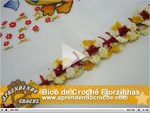 Bico de Crochê Florzinhas. Nova e exclusiva vídeo aula no site!