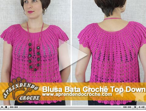 Blusa Bata Crochê Top Down. Nova videoaula no site!