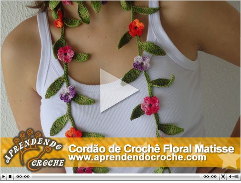 Cordão de Crochê Matisse. Nova vídeo aula no site! Exclusiva!