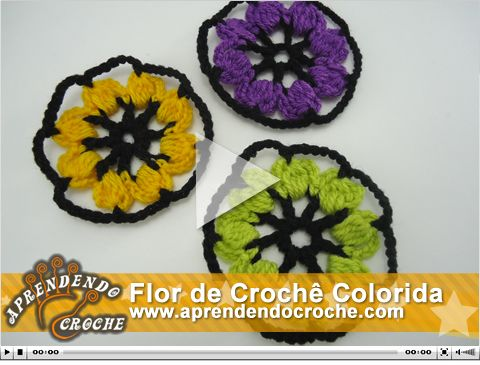 Flor de Crochê Colorida. Nova vídeo aula no site!
