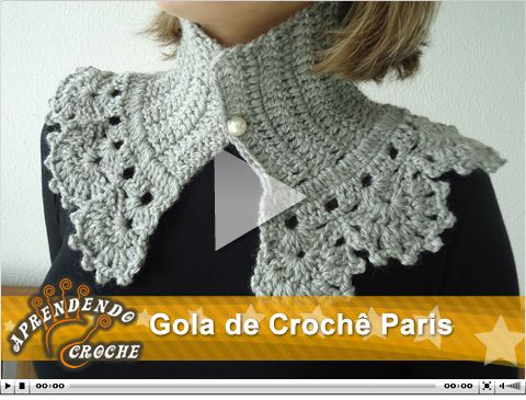 Gola de Crochê Paris. Nova vídeo aula no site!