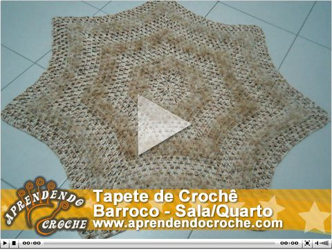 Nova vídeo aula no site! Tapete de Crochê Barroco - Sala/Quarto. Exclusivo!