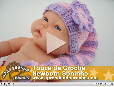 Touca de Crochê Newborn Soninho. Nova vídeo aula no site!